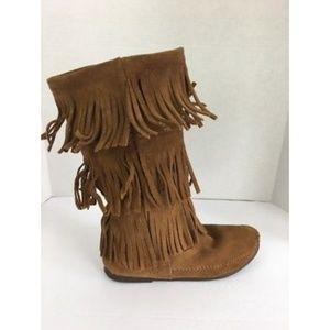 Minnetonka Women Fringe Calf Boots Size 8